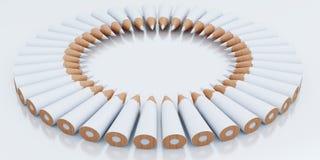Белыми круг штабелированный карандашами Стоковые Фотографии RF