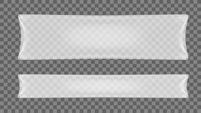 Белым прозрачным знамя сложенное политеном Стоковое Изображение