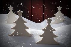 4 белых деревянных рождественской елки, снег, снежинки Стоковое фото RF