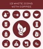 13 белых значка с кофе Стоковые Фото