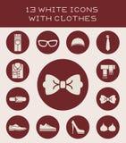 13 белых значка с одеждами Стоковая Фотография RF