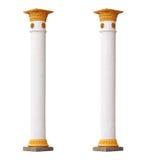 2 белых изолированного столбца в классическом архитектурном стиле Стоковое Изображение RF
