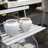 2 белых керамических бака на стенде Стоковые Фото