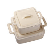 2 белых керамических бака для плиты. Стоковая Фотография RF