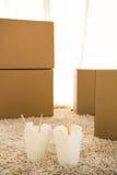 2 белых коробки лапшей Стоковое фото RF
