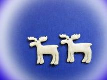 2 белых оленя сделанного от ткани Стоковое Фото
