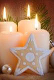 4 белых свечи пришествия Стоковое Изображение RF