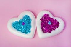 2 белых сердца Стоковые Фотографии RF