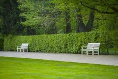 2 белых стенда против кустов Стоковая Фотография RF