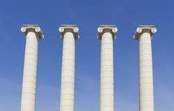 4 белых столбца, Барселона Стоковые Фото