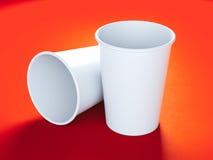 2 белых чашки картона Стоковое Изображение RF
