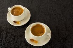 2 белых чашки кофе Стоковое Изображение