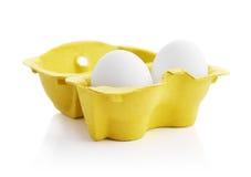 2 белых яичка цыпленка Стоковая Фотография