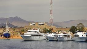 4 белых яхты в Красном Море Египет Стоковая Фотография