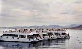 6 белых яхт в Красном Море Египет Стоковая Фотография RF