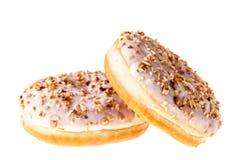 2 белых donuts фундука Стоковое Изображение