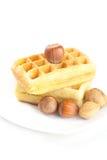 Бельгийские waffles и гайки Стоковая Фотография RF