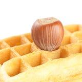 Бельгийские waffles и гайки Стоковые Изображения
