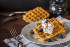 Бельгийские waffles на белой плите, салфетке и деревенской предпосылке Стоковая Фотография RF