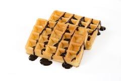 Бельгийские waffles при шоколад изолированный на белизне с copyspace Стоковая Фотография RF