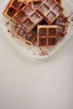 Бельгийские waffles с заскрежетанными шоколадом и замороженностью на белой плите Стоковая Фотография RF