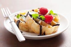 Бельгийские waffles с шоколадом и поленикой для завтрака Стоковое Изображение