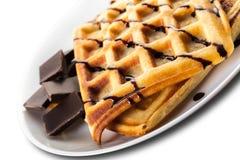 Бельгийские Waffles с шоколадом Стоковое Фото