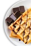 Бельгийские Waffles с шоколадом Стоковая Фотография RF
