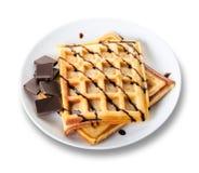 Бельгийские Waffles с шоколадом Стоковое фото RF