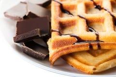 Бельгийские Waffles с шоколадом Стоковое Изображение
