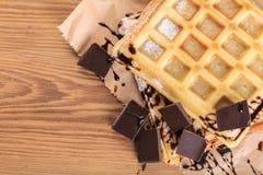 Бельгийские Waffles с шоколадом Стоковые Фотографии RF