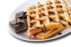 Бельгийские Waffles с шоколадом Стоковая Фотография