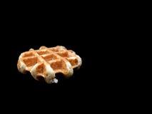 Бельгийский waffle на черной предпосылке Стоковое Изображение RF