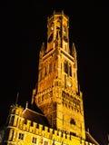 Бельфор, или башня колокольни, на квадрате Grote Markt в Брюгге, Бельгия Стоковое Фото