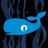 Библейская иллюстрация Иона в утробе кита молит к лорду иллюстрация штока