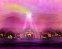 Библейская сцена - рождение Иисуса в Вифлееме Стоковые Изображения
