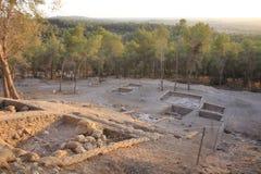 Библейское и стародедовское место Azeqa или Azeka в холмах Judeia Стоковое фото RF