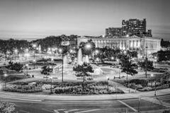 Библиотека Филадельфии и фонтаны, Пенсильвания Стоковые Фото