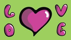 Биение сердца и влюбленность на зеленом цвете иллюстрация вектора