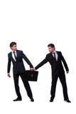 2 бизнесмена близнецов споря друг с другом изолированный на белизне Стоковые Изображения