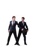 2 бизнесмена близнецов споря друг с другом изолированный на белизне Стоковая Фотография