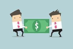2 бизнесмена вытягивают доллар друг к другу иллюстрация штока