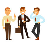 3 бизнесмена в хорошем настроении пока работающ на белизне иллюстрация вектора