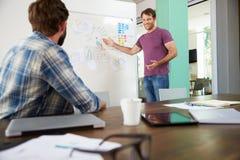 2 бизнесмена имея творческую встречу в офисе Стоковые Фотографии RF