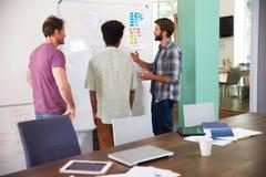 3 бизнесмена имея творческую встречу в офисе Стоковое Изображение