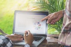 2 бизнесмена осматривают статистик от диаграммы в sho кофе стоковые фотографии rf