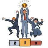 3 бизнесмена скача на выигрывая подиум с трофеем вектор иллюстрация штока