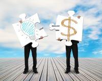 2 бизнесмена собирая головоломки для идеи doodles денег иллюстрация вектора