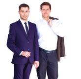 2 бизнесмена стоя изолированный на белой предпосылке Стоковое Изображение