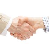 2 бизнесмена тряся руки - близкую поднимающую вверх съемку Стоковое Фото